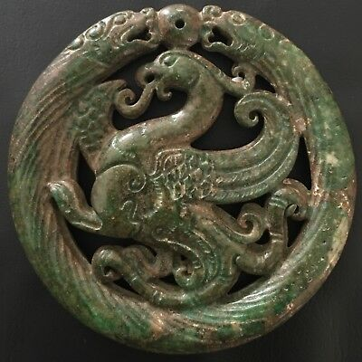 Antique Old Chinese Charm Green Jade,Carved Dragon Pendant, China.