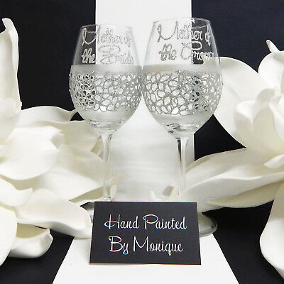 Wine Glass Set  for The Mother of the Bride & Groom Lace