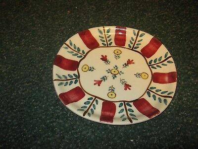 "PLATE, DINNER, PURINTON POTTERY. PATTERN:  PEASANT GARDEN (Approx. 9"")"