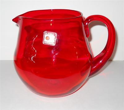 Vtg Ruby Tangerine Blenko Water Juice Pitcher Mid Century Modern Original Label