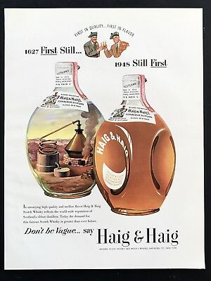 1948 Vintage Print Ad 40's HAIG & HAIG Big Bottle Image Art Scotch Whisky