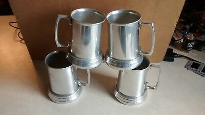 LOT OF 4 Vintage PRIMITIVE Style TIN Cup Cups,transparent bottoms,aluminum