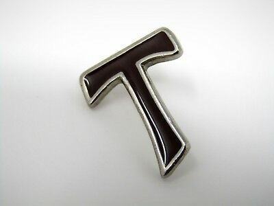 Vintage Collectible Pin: Letter T Nice Design Brown Enamel