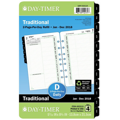 """Day-Timer Two Page Per Day Refill, January - December 2018, 5-7/16"""" x 8-1/2"""",  C"""