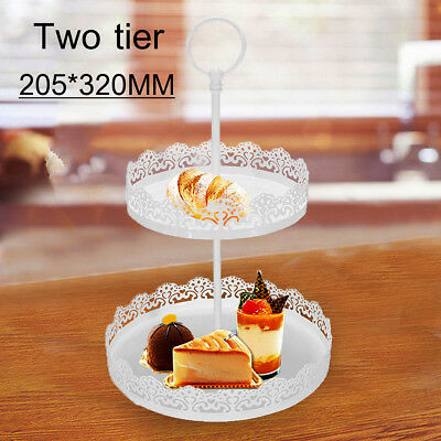 2 Tiers Cake Stand Plate Tray Jewellery Rack Display Holder Wedding Party Decor