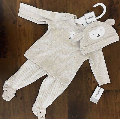 Carters Baby 3 mos Lamb Outfit Boy Girl Unisex Pants Long Sleeve Hat Set Gift