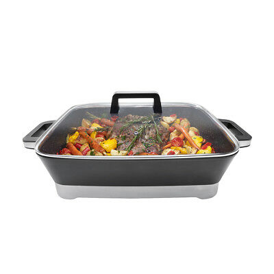 LARGE Electric Skillet Frypan Variable Temp Control NonStick Stone Coated Plate