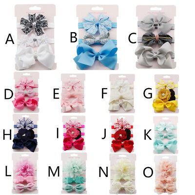 3Pcs Kids Elastic Floral Headband Hair Cute Girls Baby Bowknot Hairband Set