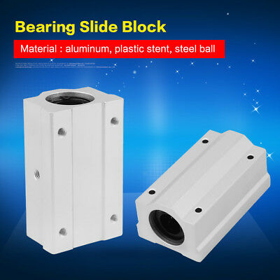 2Pcs Aluminum 8/12/16/20mm Linear Ball Bearing Motion Slide Bushing For CNC inm