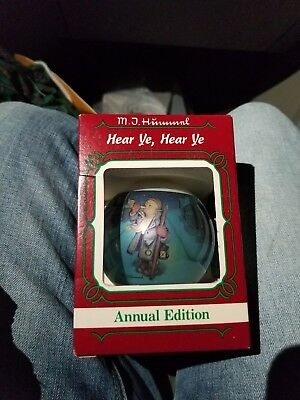 "1985 Goebel-Hummel Glass Ball Ornament ""Hear Ye, Hear Ye"" Third Annual Edition"