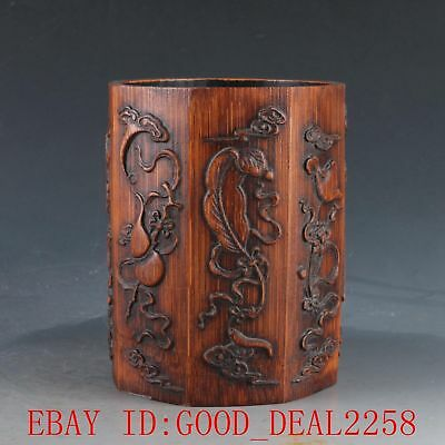 Chinese Bamboo Wood Hand Carved Eight immortals weapons Brush Pot DY4