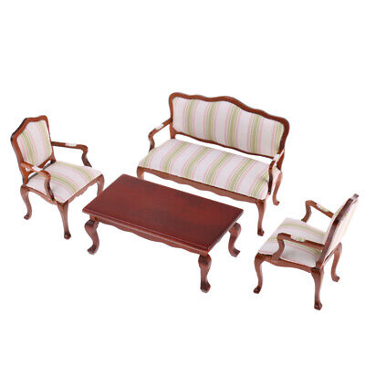 12th Dollhouse Living Room Furniture Sofa Chairs Table 4 Pieces Set Striped