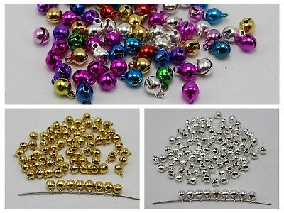 100 JINGLE BELLS~Christmas Bell~Beads Charms 6mm Decoration DIY Craft
