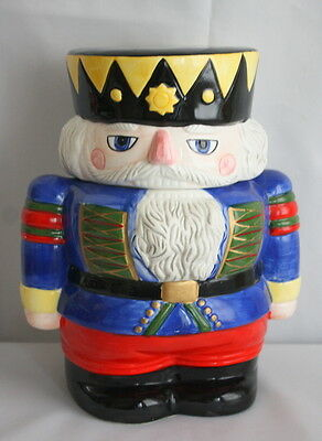 Ceramic Block Whimsy Christmas Nutcracker Figurine Cookie Jar Hand Painted