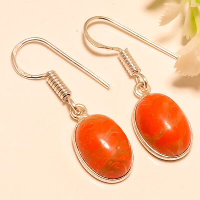 Red Turquoise Gemstone 925 Silver Earring 1.4