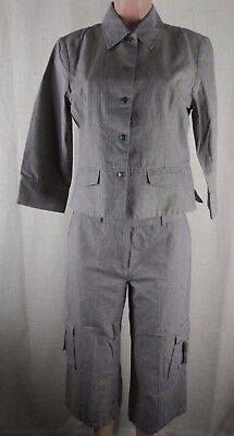 Chico's Women's 2 Piece Outfit 3/4 Sleeve Top & Capri Pants-Career-Gray-Size 1/M