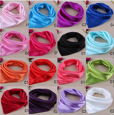 Women Lady Small Square Satin Silk Scarf Smooth Wrap Scarves Handkerchief Gifts