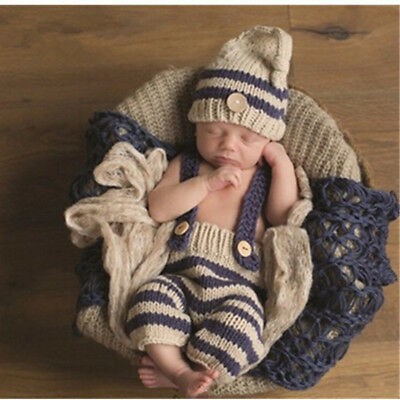Outfits  Knit crochet Striped   Newborn 1 Set Soft Photography props  Hat pants
