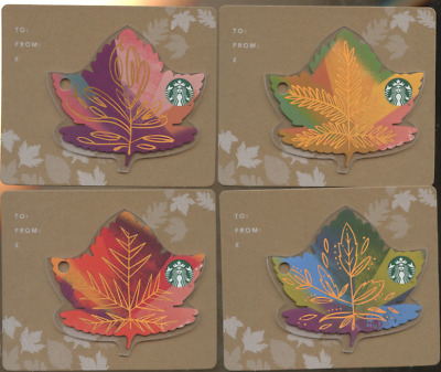 SET OF 4 Starbucks CARDS FALL OF THE LEAVES FROM LONDON ENGLAND