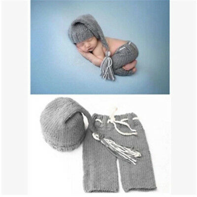 Photography Props Soft Knitting For Newborn Handmade 1 Set Hat Pants Clothing