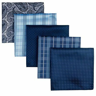 Pack Of 5 Assorted Blue Silver Woven Microfiber Premium Pocket Square for Men