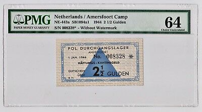 Ww2 Holocaust Concentration Camp- Amersfoort 2.5 Gulden 1944 Super Rare Banknote