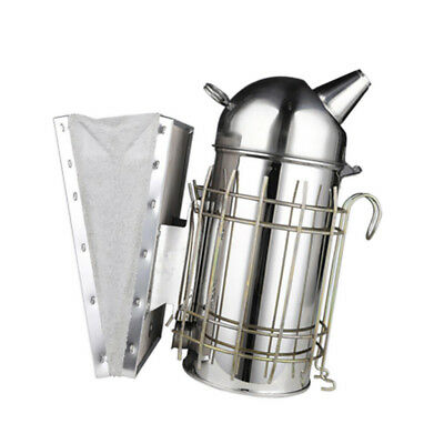 Bee Smoker for Beekeeping – Stainless Steel with Metal Heat Shield and Hook