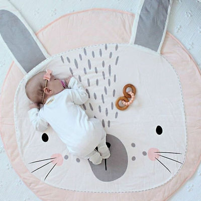 Baby Rabbit Crawling Blanket Newborn Kid Floor Mat Padded Round Carpet Play Rug
