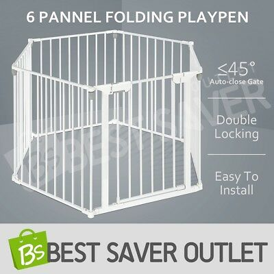Kids Baby Pet Metal Safety Playpen Divider with Double Locking 6 Panel 3in1