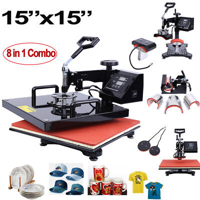 "15""X15"" 8 In 1 T-shirt Heat Press Sublimation Transfer Machine For Mug Plate Hat"