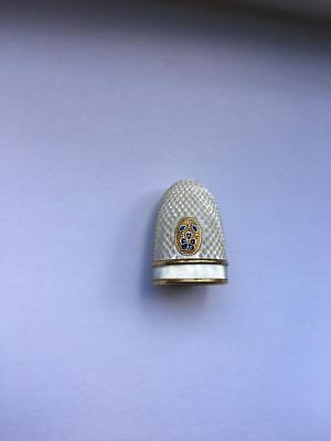 Antique Mother Of Pearl And Enamel Palais Royal Thimble Early 19Th Century