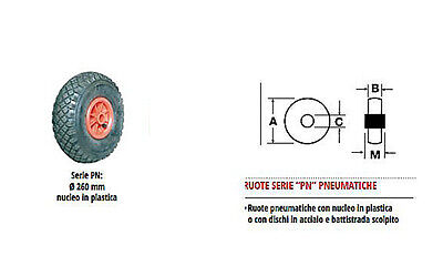 WHEEL PNEUMATIC INFLATABLE PACER PAINT 260x85MM 120KG NUCLEO PLASTIC