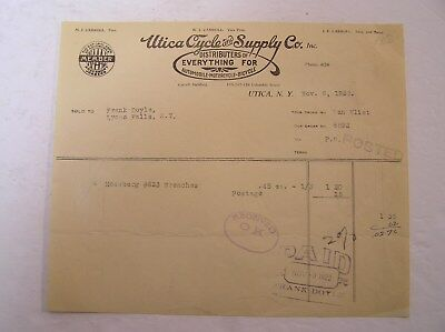 Utica Cycle & Supply co. Invoice 1922