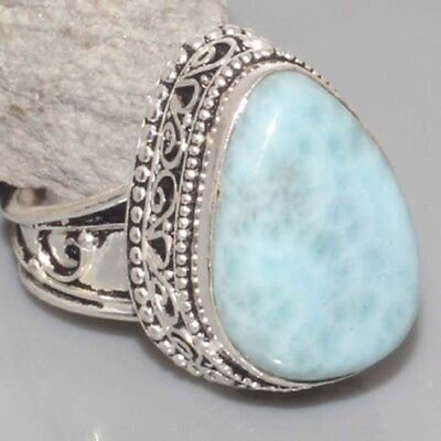 L7751 VINTAGE STYLE ! RARE Natural Larimar Hand-Crafted Ring US 8 gm 9 Jewelry