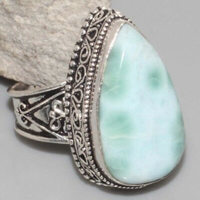 L7726 VINTAGE STYLE ! RARE Natural Larimar Hand-Crafted Ring US 9 gm 12 Jewelry