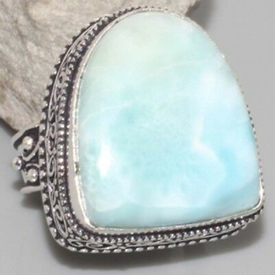 L7704 VINTAGE STYLE ! RARE Natural Larimar Hand-Crafted Ring US 8 gm 16 Jewelry