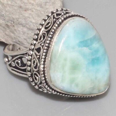 L7731 VINTAGE STYLE ! RARE Natural Larimar Hand-Crafted Ring US 7.5 gm 9 Jewelry