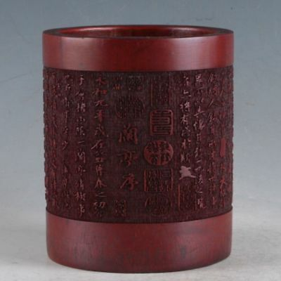 Chinese Bamboo Pole Hand Carved Ancient Poetry Brush pot DY16