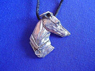 Whippet Greyhound Head Study necklace 12D Pewter Dog Jewelry by Cindy A. Conter