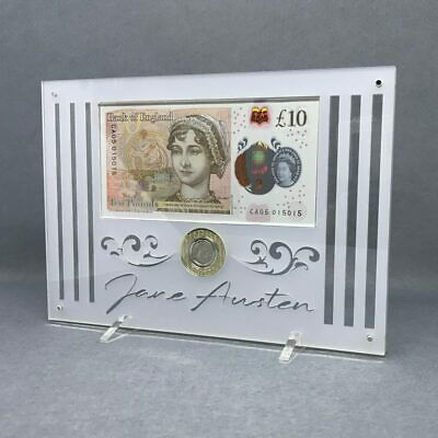 Jane Austen £10 note and £2 coin an Enduring Romance, Perspex Display