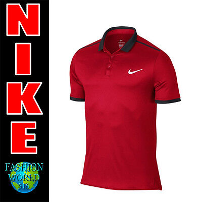 Nike Men's Size 2XL Advantage Solid Tennis Polo Shirt  728947 Red/Navy