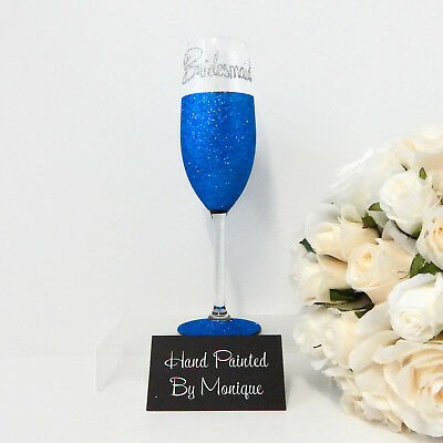 Personalised Glitter Wedding Champagne Toasting Flute x 1