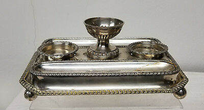 Antique Vintage English Sheffield Silverplate Silver on Copper Desk Set Inkwells