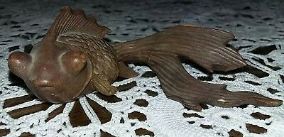 Antique Chinese Hand Carved Rosewood Wood Fantail Goldfish Koi Carp Asian