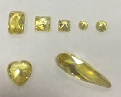 Cubic Zirconia Loose Stone YELLOW GOLD diff shape crystal gem x1 -x 10 PREMIUM