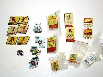 (20) 1992 Barcelona & Albertville Olympic Games Pins - w/ M&M's, Snickers & Coke
