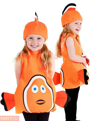 Childs Toddler Clown Fish Costume Boys Girls Nemo Fancy Dress Kids Animal Outfit