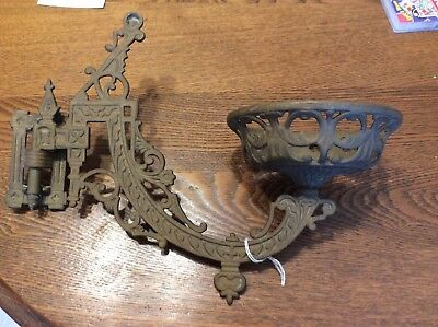 Beautiful Antique Victorian, Decorative Iron, Kerosene Lamp Holder, Fixture,