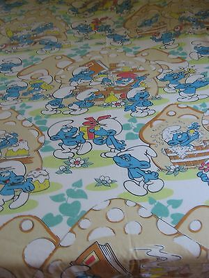 Smurfs Bed Sheets FULL Double bed Size Fitted Top Sheet 2 Pillowcase 1980s Peyo
