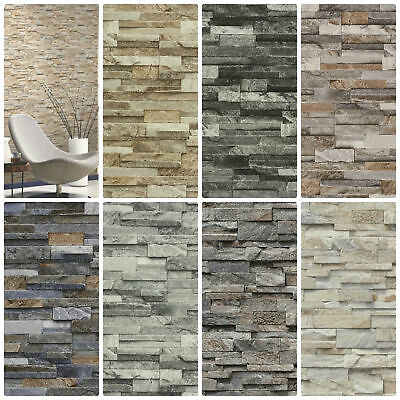 Split Face 3D Slate Brick Stone Effect Vinyl Wallpaper Paste The Wall 7 Colours